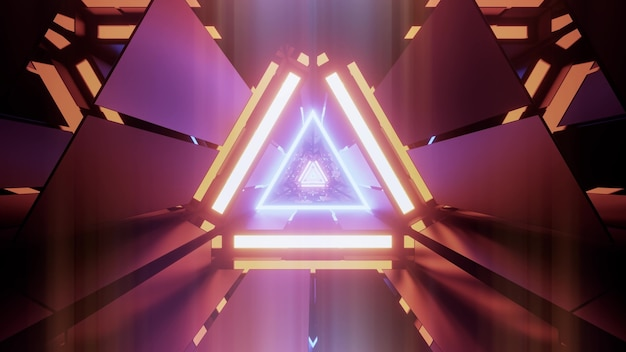 Abstract background of vibrant sci fi tunnel in shape of triangle illuminated by colorful neon lights Premium Photo