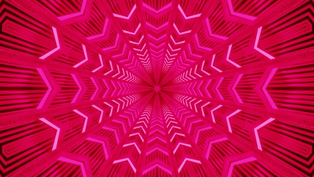 Abstract background of vivid geometrical corridor glowing with pink neon light
