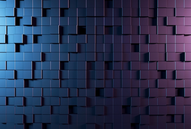 Abstract background wall with parametric cubic pattern