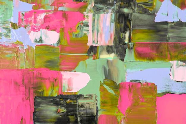 抽象的な背景の壁紙、緑とピンクのアクリル絵の具の質感