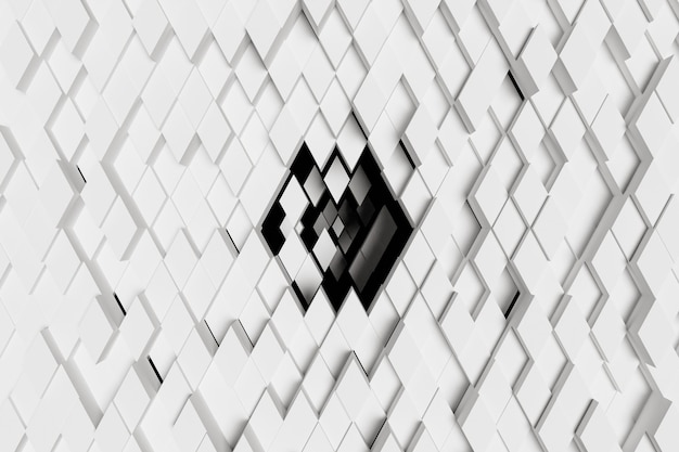 Abstract background of white diamonds sinking in the center towards a black background. 3d rendering