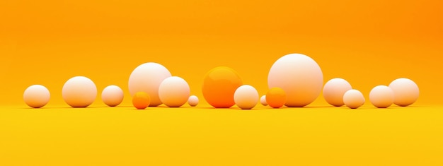 Abstract background with 3d spheres, plastic white and orange  bubbles