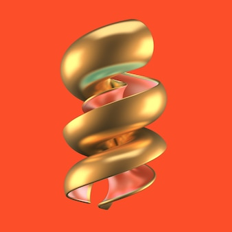 赤と金の形をした抽象的な背景。 3dイラスト、3dレンダリング。