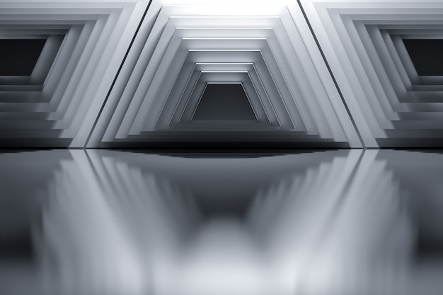 Abstract background with architectural geometric 	trapezium structures in black and white colors.