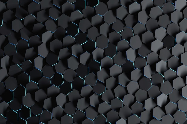 Abstract background with black randomly arranged hexagons.