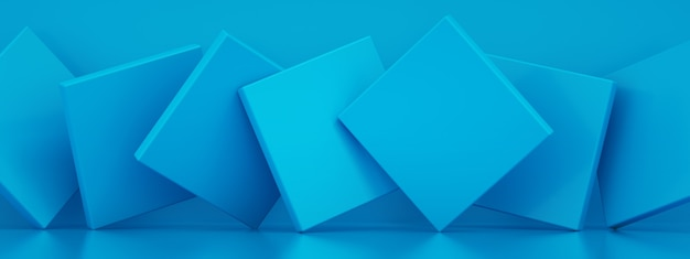 Abstract background with blue paper geometric shapes, 3d rendering, panoramic image Premium Photo