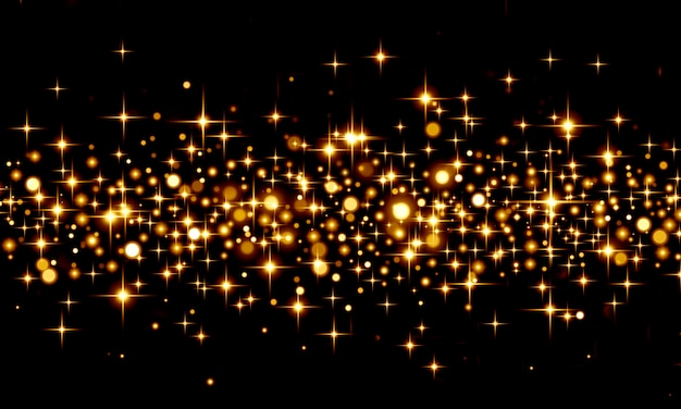 Abstract background with bokeh glitter, gold confetti on black background