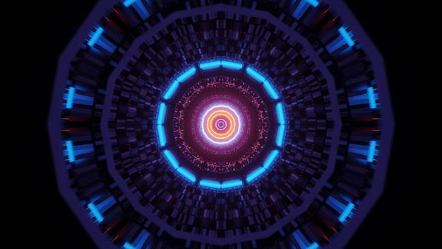 Sfondo astratto con luci al neon incandescente colorate circolari, uno sfondo di rendering 3d