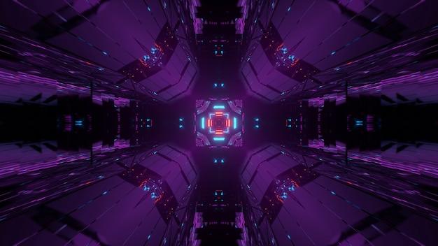 カラフルな輝くネオンライト、3dレンダリングと抽象的な背景