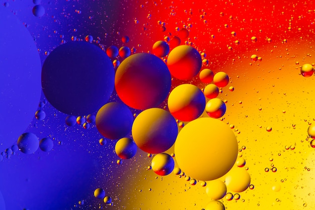 Abstract background with colorful gradient colors. oil drops in water abstract psychedelic image.