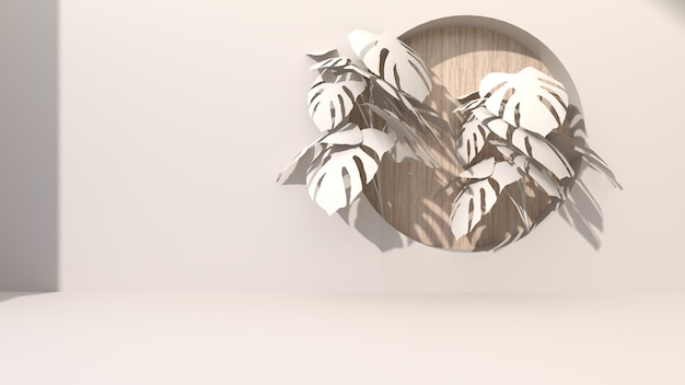 크림 색 기하학적 형태와 추상적 인 배경 드릴 구멍 나무 배경 라운드 퍼 팅. 몬스 테라 잎으로 장식하십시오. 현재 화장품에. 3d 렌더링