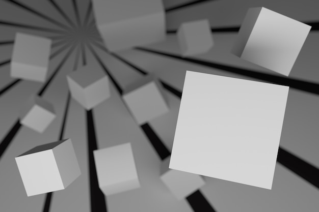 Abstract background with cubes in 3d space in black and white