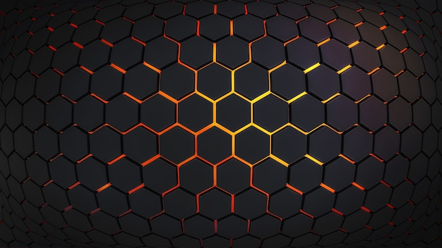 Abstract background with dark hexagons and lava at the bottom