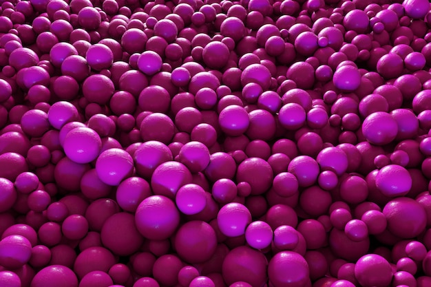 Abstract background with dynamic 3d spheres plastic bright pink bubbles creative glossy balls