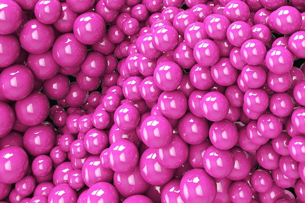 Abstract background with dynamic 3d spheres. plastic soft pink bubbles. 3d illustration of glossy balls. modern trendy banner or poster design