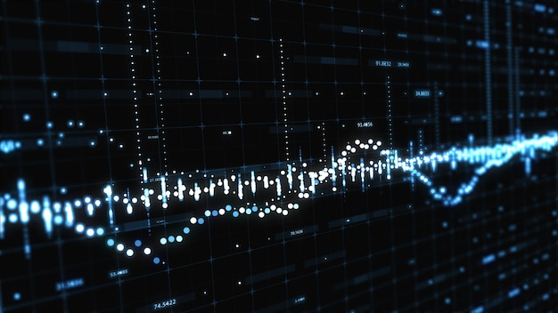 Abstract background with floating graph flowing counters of numbers and equalizer 3d illustration