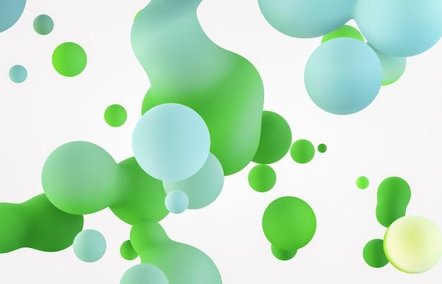 浮かぶ液体の塊、泡と抽象的な背景。