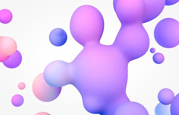 Абстрактный фон с плавающими жидкими каплями, пузырями.