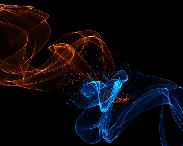 火と氷の色で流れるような線と抽象的な背景