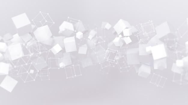 Абстрактный фон с летающими кубиками 3d иллюстрации