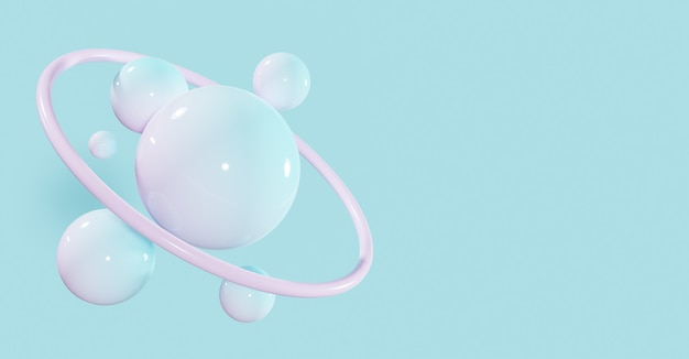 光沢のある球と抽象的な背景