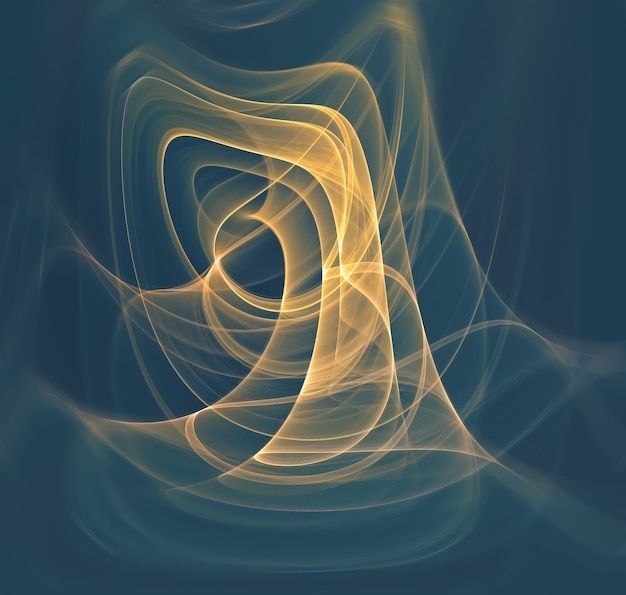 Abstract background with glowing yellow fractal lines
