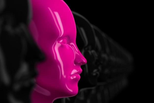 초점이 맞지 않는 많은 동일한 검은색 여성 인형 얼굴이 있는 추상적인 배경, 그 중 하나는 초점이 맞고 분홍색 3d 그림으로 강조 표시됩니다