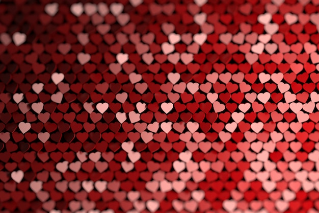 Abstract background with many randomly colored hearts.