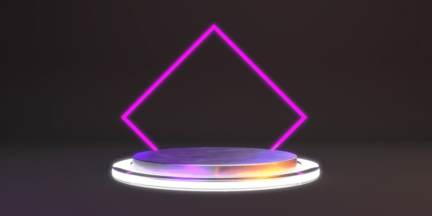 Abstract background with metal shape podium and neon for product. glowing minimal concept.