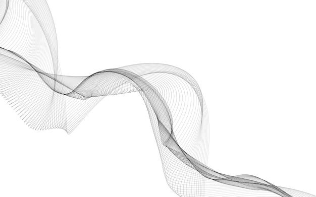 흰색 바탕에 단색 웨이브 라인으로 추상적 인 배경. 현대 기술 배경입니다.