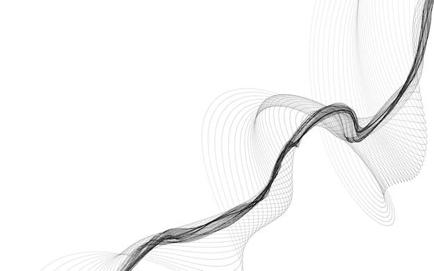 白い背景にモノクロ ウェーブ ラインと抽象的な背景。現代技術の背景。