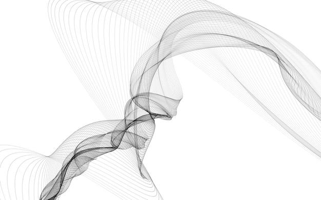 白い背景の上のモノクロの波線と抽象的な背景。現代の技術の背景。