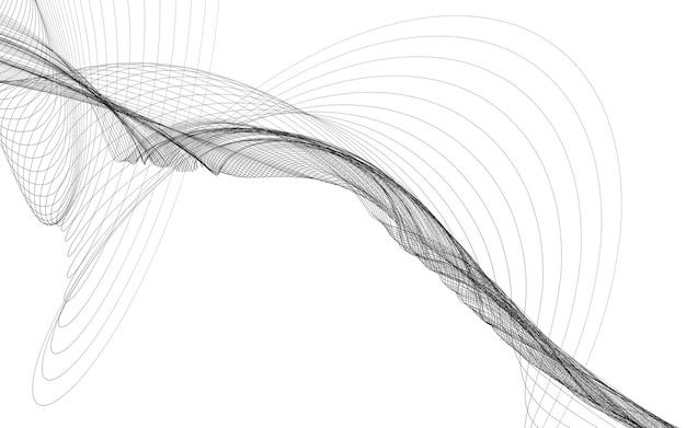 흰색 바탕에 흑백 웨이브 라인으로 추상적인 배경. 현대 기술 배경입니다.