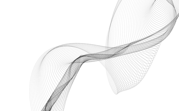 Abstract background with monochrome wave lines on white background. modern technology background.