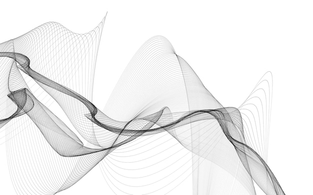 Abstract background with monochrome wave lines