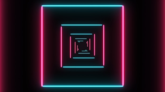 Abstract background with neon squares with light lines moving fast.