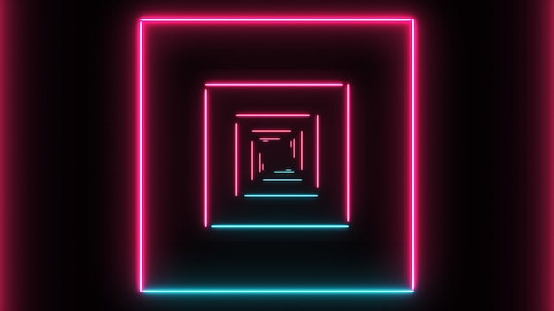 Abstract background with neon squares with light lines