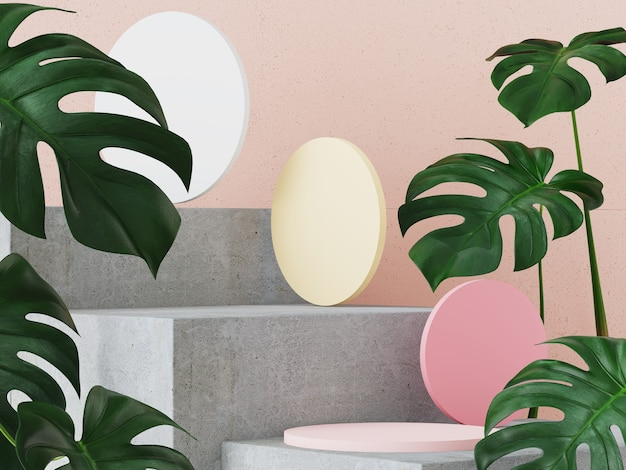 Abstract background with pastel color podium in minimal design