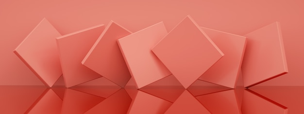 Abstract background with pink geometric shapes, 3d render, panoramic image Premium Photo