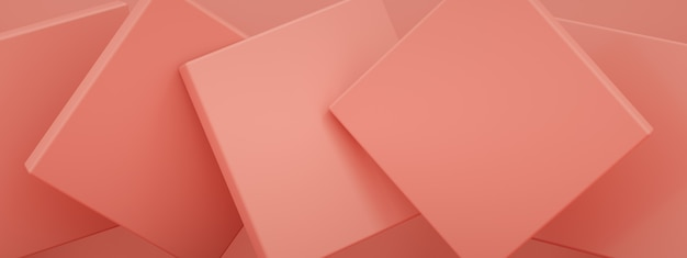 Abstract background with pink geometric shapes, 3d render, panoramic image