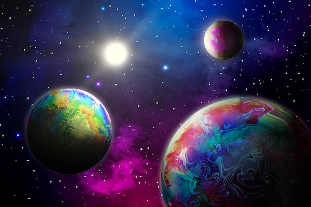 Abstract background with planets in space