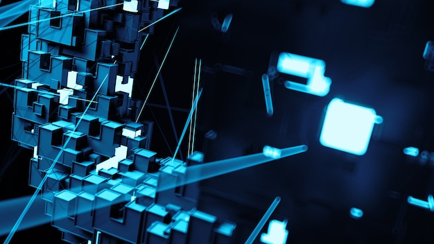 Abstract background with random square and rectangular shapes. connection concept. bright segment. detail 3d render with depth of field.