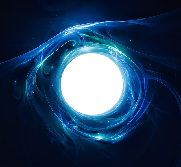 Abstract background with a shining ball in the center with luminous lines.