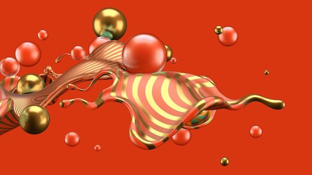 Абстрактный фон с всплеск и мяч. 3d иллюстрации, 3d-рендеринг.