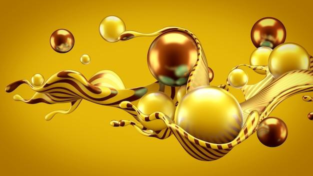 スプラッシュとボールと抽象的な背景。 3dイラスト、3dレンダリング。