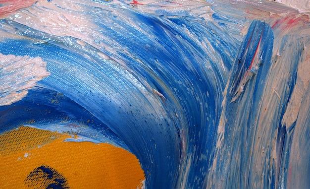 キャンバス上のテクスチャ油絵ブラシストロークと抽象的な背景
