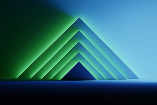 Abstract background with triangular shapes illuminated by blue and green glowing light over the dark surface. room space with geometric primitive shapes pyramids.