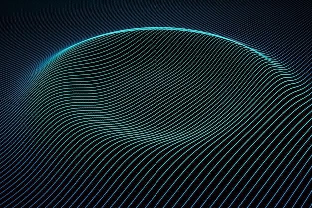 물결 모양의 컬러 라인으로 추상적 인 배경입니다. 네온 선에서 표면에 애니메이션 잔물결이 나타납니다. 3d 일러스트