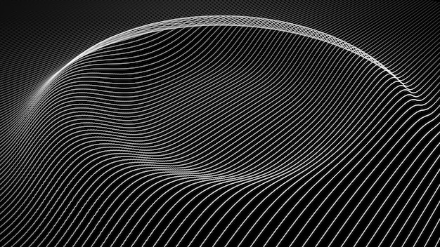 Abstract background with wavy color lines. animation ripples on surface from neon lines. 3d illustration