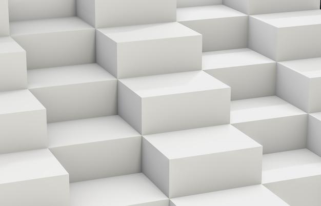 흰색 3d 큐브 상자와 추상적 인 배경입니다. 3d 렌더링 흰 배경.